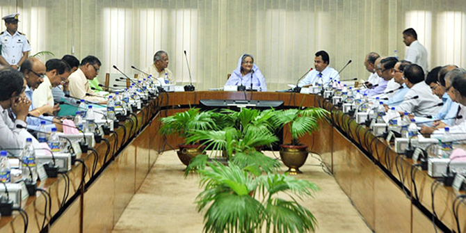 In the May 21 file photo, Prime Minister Sheikh Hasina speaks at a meeting of the Executive Committee of the National Economic Council at capital's NSC auditorium. Photo: BSS
