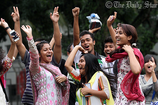 Boys and girls of Adamjee Cantonment Public School & College of the capital on Wednesday celebrate their success in this year's Higher Secondary Certificate (HSC) and equivalent examinations. Photo: Palash Khan