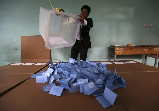 An Afghan election official empties a ballot box for counting at the end of polling in Herat Province, April 5, 2014. Voting was largely peaceful in Afghanistan's presidential election Saturday, with only isolated attacks on polling stations as the country racked by decades of chaos embarked on its first ever democratic transfer of power. Photo: Reuters