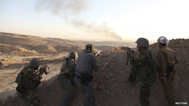 Kurdish forces, known as Peshmerga, are struggling to stop the advance of IS fighters