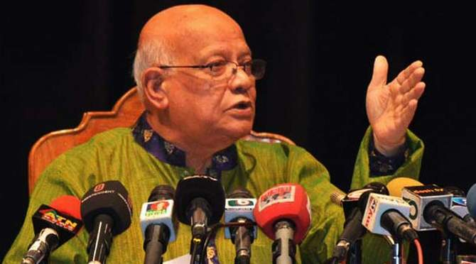 This undated file photo shows Finance Minister AMA Muhith addressing a programme in Dhaka.
