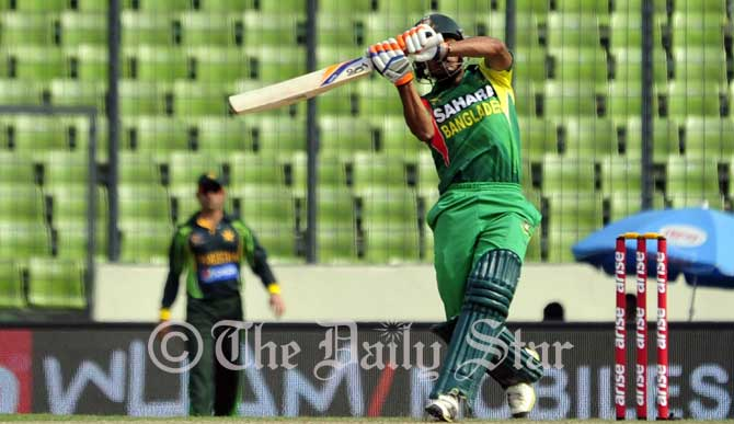 Bangladesh batsman Anamul Haque hits a boundary on his way to a 132-ball century against Pakistan at Sher-e Bangla Stadium Tuesday. Photo: Firoz Ahmed