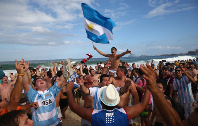 Argentina fans gather on Copacabana Beach ahead of the 2014 FIFA World Cup Brazil Final match on July 12. Photo: Getty Images