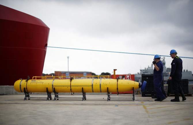 A Phoenix underwater mapping robot is pictured on the dock at HMAS Stirling naval base near Perth, March 30, 2014. The device will be placed on the Australian Defence ship Ocean Shield and used to help map the location of the sunken wreckage of Malaysia Airlines Flight MH370 in the southern Indian Ocean. Photo: Reuters