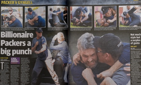 How Sydney's Daily Telegraph displayed photographs of the fight between billionaire James Packer and Channel Nine chief executive David Gyngell.  The photo is taken from The Guradian