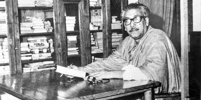 In the world of books: Bangabandhu in his study at home. Photo: File
