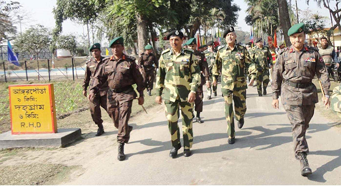 This Star Photo taken on February 2, 2013 shoes the Director General of Indian Border Security Force Suresh Joshi visiting much-talked Tin Bigha Corridor of Angorpota-Dhagram union in Patgram upazila of Lalmonirhat.