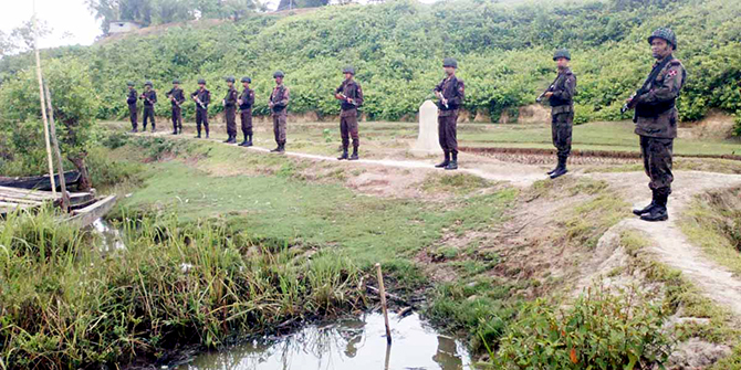 Border Guard Bangladesh troops patrolling the Bangladesh side of the border with Myanmar at Naikkhangchhari in Bandarban on Friday. Photo: Banglar Chokh