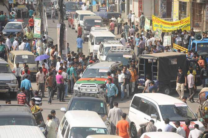 This April 22 photo shows a motorcade of BNP's long march towards Teesta Barrage of Nilphamari from Uttara in Dhaka demanding due share of the river's water. Photo: STAR