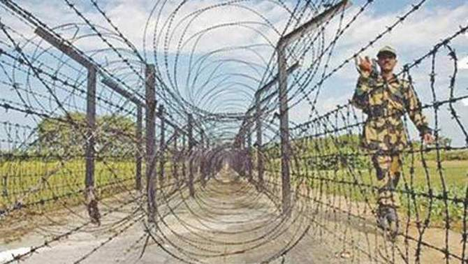 This file photo shows a BSF man patrolling the border area