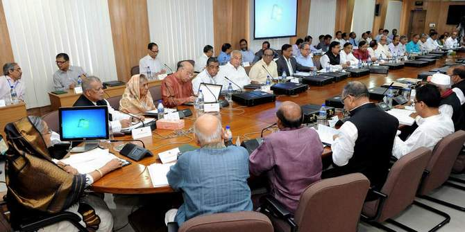 This August 4 photo shows Prime Minister Sheikh Hasina chairing a cabinet meeting at Secretariat in the capital