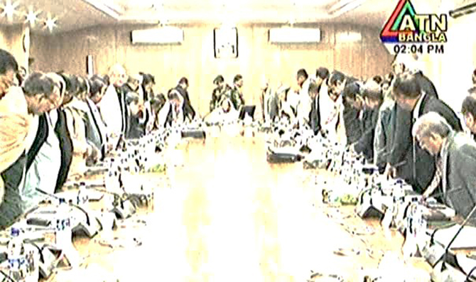This TV grab shows Prime Minister Sheikh Hasina presides over a cabinet meeting at Secretariat in the capital.