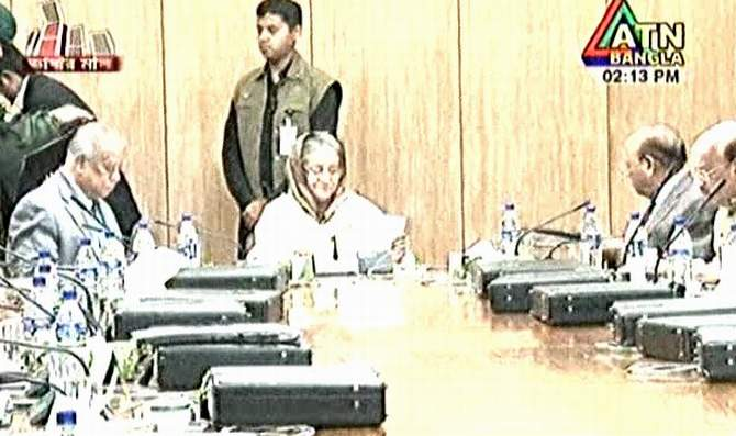 The 7th regular weekly meeting of the Cabinet of the current government was held at Bangladesh Secretariat this afternoon with Prime Minister Sheikh Hasina in the chair. Photo: TV grab