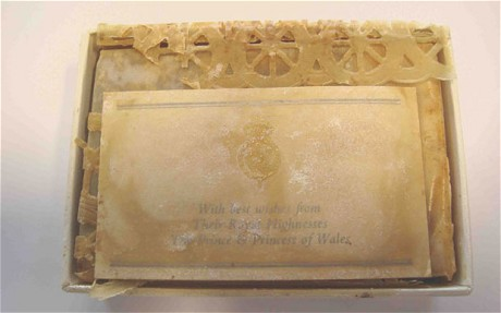 The cake, still in its original white and silver presentation box, was sold online by Nate D Sanders Auctions of Los Angeles. Photo taken from The Telegraph