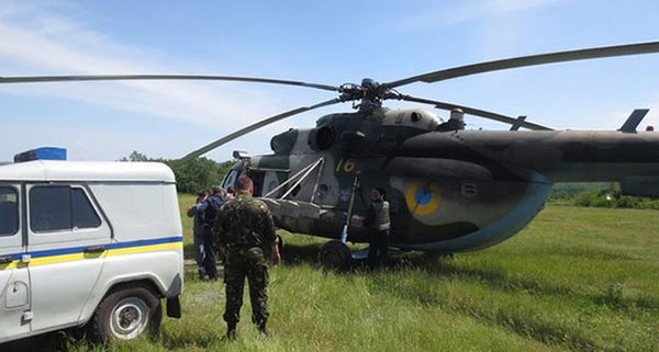 The helicopter had just taken off after transporting soldiers to a Ukrainian base. Photo: Courtesy