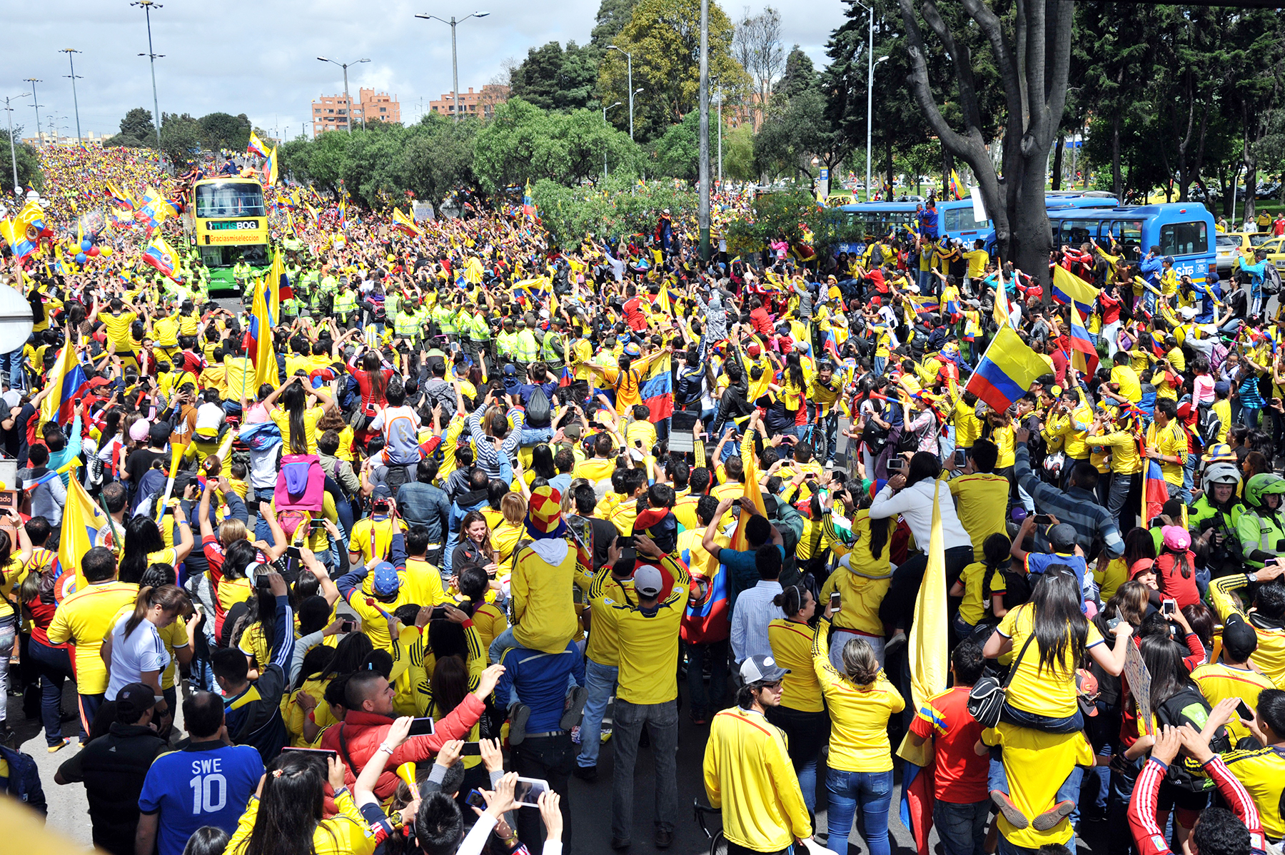 A crowd of Colombian fans greet their national football team upon their arrival in Bogota after the FIFA World Cup Brazil 2014, on July 6, 2014. Photo: Getty Images