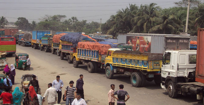 A 36-km tailback on the Dhaka-Chittagong highway forced hundreds of vehicles to remain stuck since early today.
