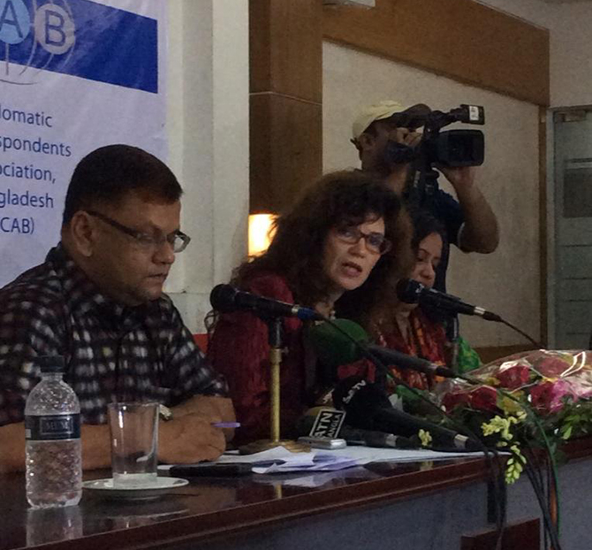 Heather Cruden was talking to diplomatic correspondents at the Jatiya Press Club in Dhaka on Monday. Photo taken from Heather Cruden (@HeatherCruden)'s twit