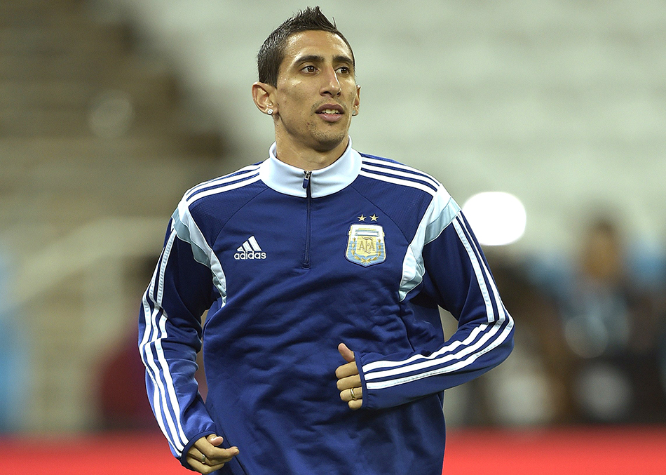Argentina's midfielder Angel Di Maria takes part in a training session at the Arena de Sao Paulo Stadium, on July 08, on the eve of the 2014 FIFA World Cup semi-final against Netherlands. Photo: Getty Images