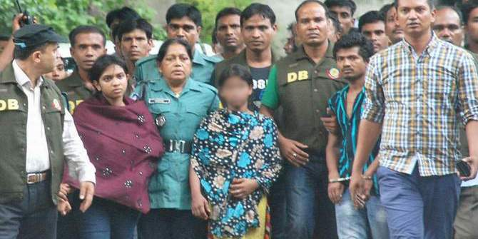 This Star file photo shows Oishee, Sumi and Rony — arrested in connection with the killing of police inspector Mahfuzur Rahman and Swapna Rahman — are being taken to the court. Face of Sumi have been blurred as she is minor.