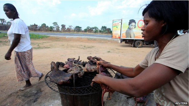 Bushmeat - from animals such as bats, antelopes, porcupines and monkeys - is a prized delicacy in much of West Africa but can also be a source of Ebola. Photo taken from BBC