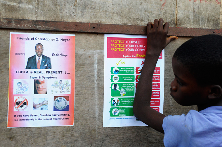 A boy stands near posters displaying a government message against Ebola at Duwala market in Monrovia August 17, 2014. Photo: Reuters