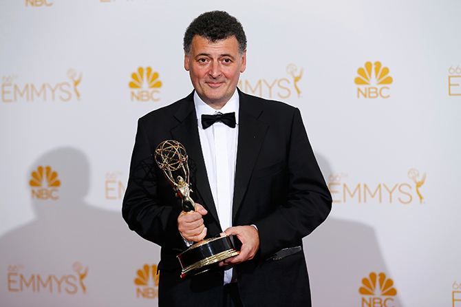 Writer Steven Moffat poses with his Outstanding Writing for a Miniseries, Movie or a Dramatic Special award for the PBS/BBC miniseries