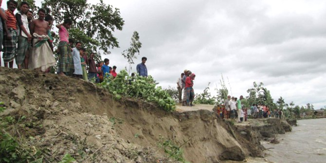 This Star photo published on July 23 this year shows the flood control embankment in Rohodaha area in Sariakandi upazila of Bogra is on the verge of collapse due to constant onslaught by the river Jamuna.