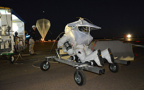 Eustace was suspended from the balloon in his suit, unlike Baumgartner who used a capsule. Photo taken from The Telegraph