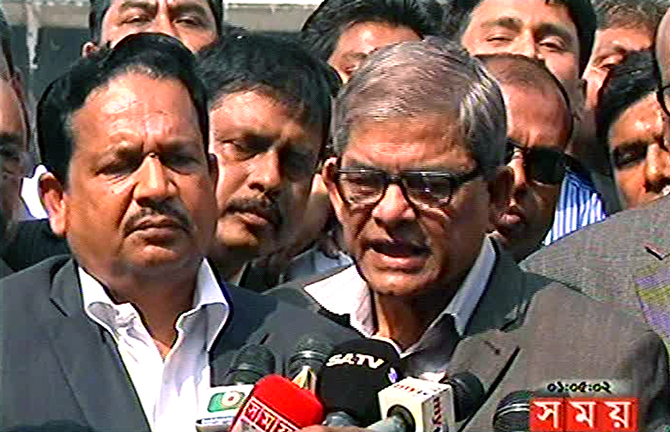 BNP acting secretary general Mirza Fakhrul Islam Alamgir talks to reporters after paying tribute to the party's founder late Ziaur Rahman at his grave in the capital's Chandrima Udyan on Saturday. Photo: TV grab