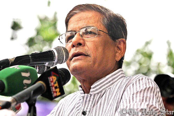 Mirza Fakhrul Islam Alamgir addressing a rally at the Suhrawardy Udyan in Dhaka on Tuesday afternoon protesting the newly formulated Broadcast Policy. Photo: Amran Hossain