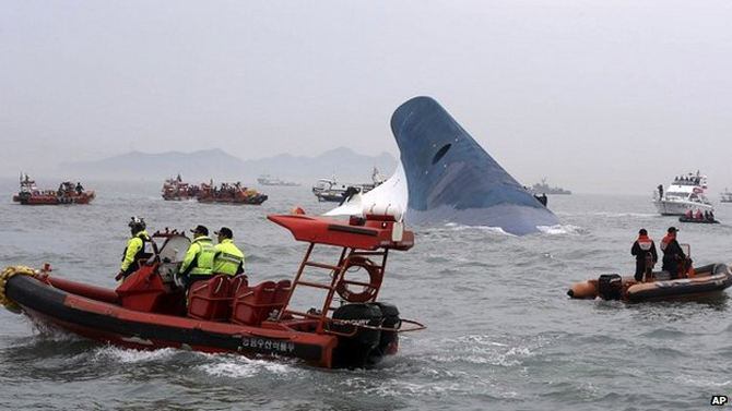 he Sewol ferry had been carrying 476 passengers, mainly school children, when it capsized in April. Photo taken from BBC