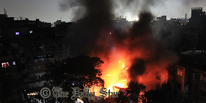 This photo shows the flames of a fire that broke out at a soap factory at Kosaituli in the capital this evening. Photo: Palash Khan