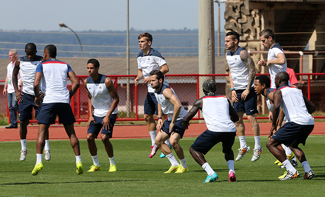 Players of France warm up during a practice session on the eve of the 2014 FIFA World Cup Brazil round of 16 match between France and Nigeria at the local 'Bombeiros' Firefighters Training Camp on June 29, 2014 in Brasilia, Brazil. Photo: Getty Images