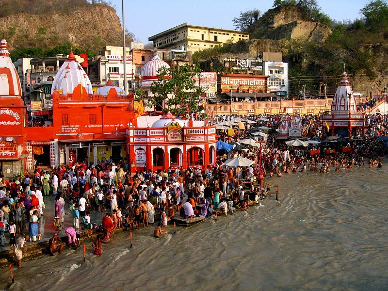 Hindu devotees take holy bath during festival of Ganga Dashara at Har-ki-Pauri in Haridwar of India. The photo is taken from Wikipedia.