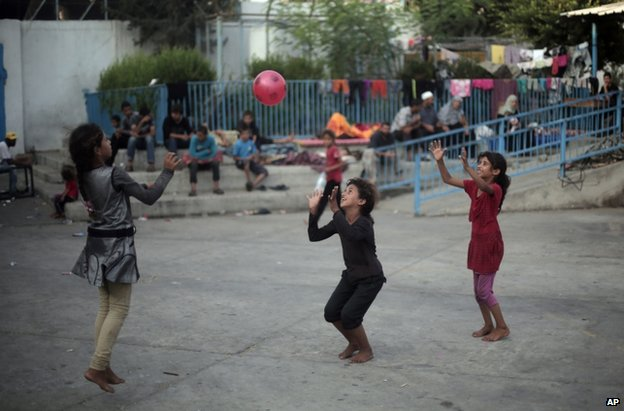 Palestinian children play at a UN school in Gaza's Jabaliya refugee camp