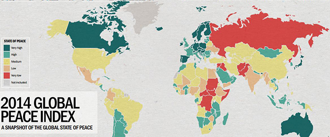 Only 11 countries in the world are actually free from conflict