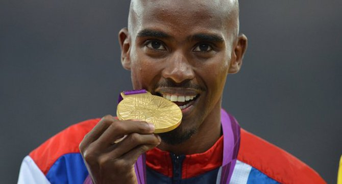 Mo Farah enjoying Olympic gold. This photo is taken from BBC Online