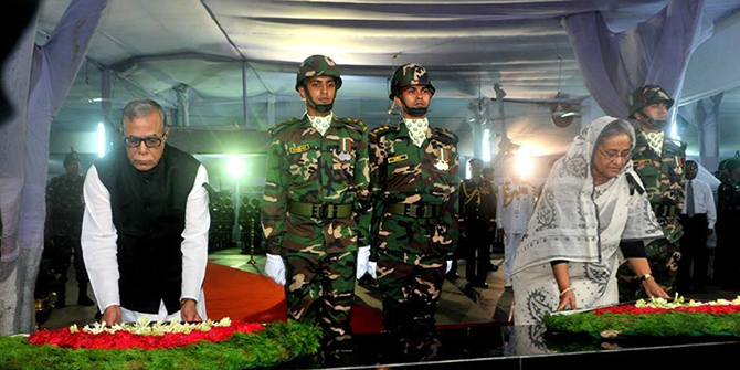 President Abdul Hamid and Prime Minister Sheikh Hasina led the nation in paying tribute to Bangabandhu by placing wreaths at his portrait in the Bangabandhu Memorial Museum at Dhanmondi in the capital on Friday. Photo: Facebook/ Bangladesh Awami League