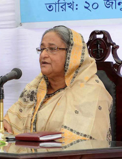 Prime Minister Sheikh Hasina speaks at a rally in Satkhira today