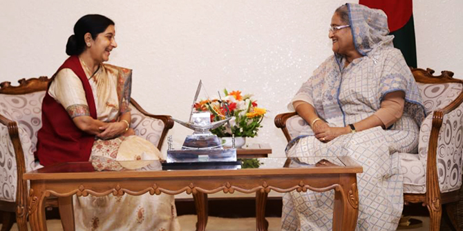 Prime Minister Sheikh Hasina meets visiting Indian External Affairs Minister Sushuma Swaraj at her office in the capital on Thursday. Photo courtesy of High Commission of India, Dhaka