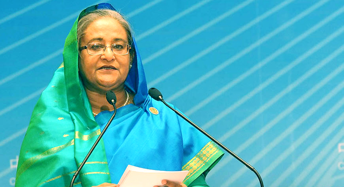 Prime Minister Sheikh Hasina addresses the 9th China-South Asia Business Forum held at Haigeng Conference Centre in Kunming of China Saturday. Photo: PID