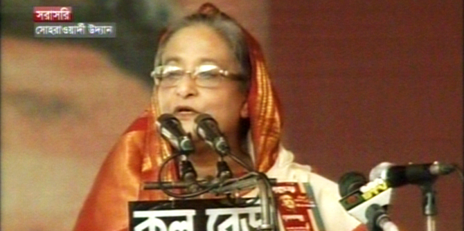 Prime Minister also Awami League president Sheikh Hasina addresses a rally at Suhrawardy Udyan in the capital Friday afternoon marking the party's 65th founding anniversary. Photo: TV grab