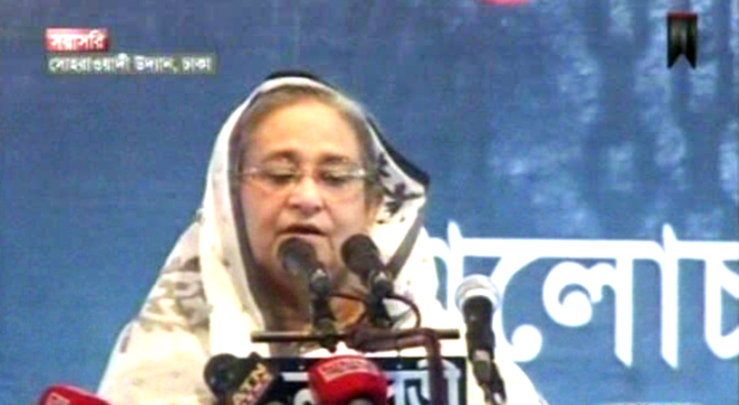 Sheikh Hasina addressing a rally at Suhrawardi Udyan Saturday afternoon. Photo: TV grab