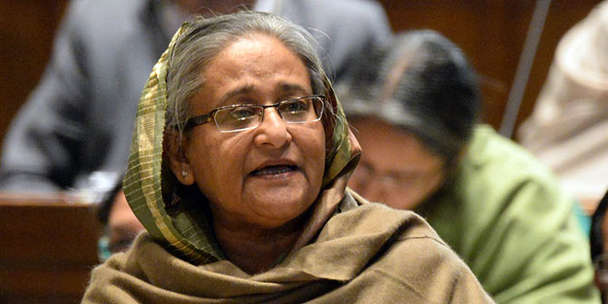 Prime Minister Sheikh Hasina speaks at the parliament today. Photo: PID