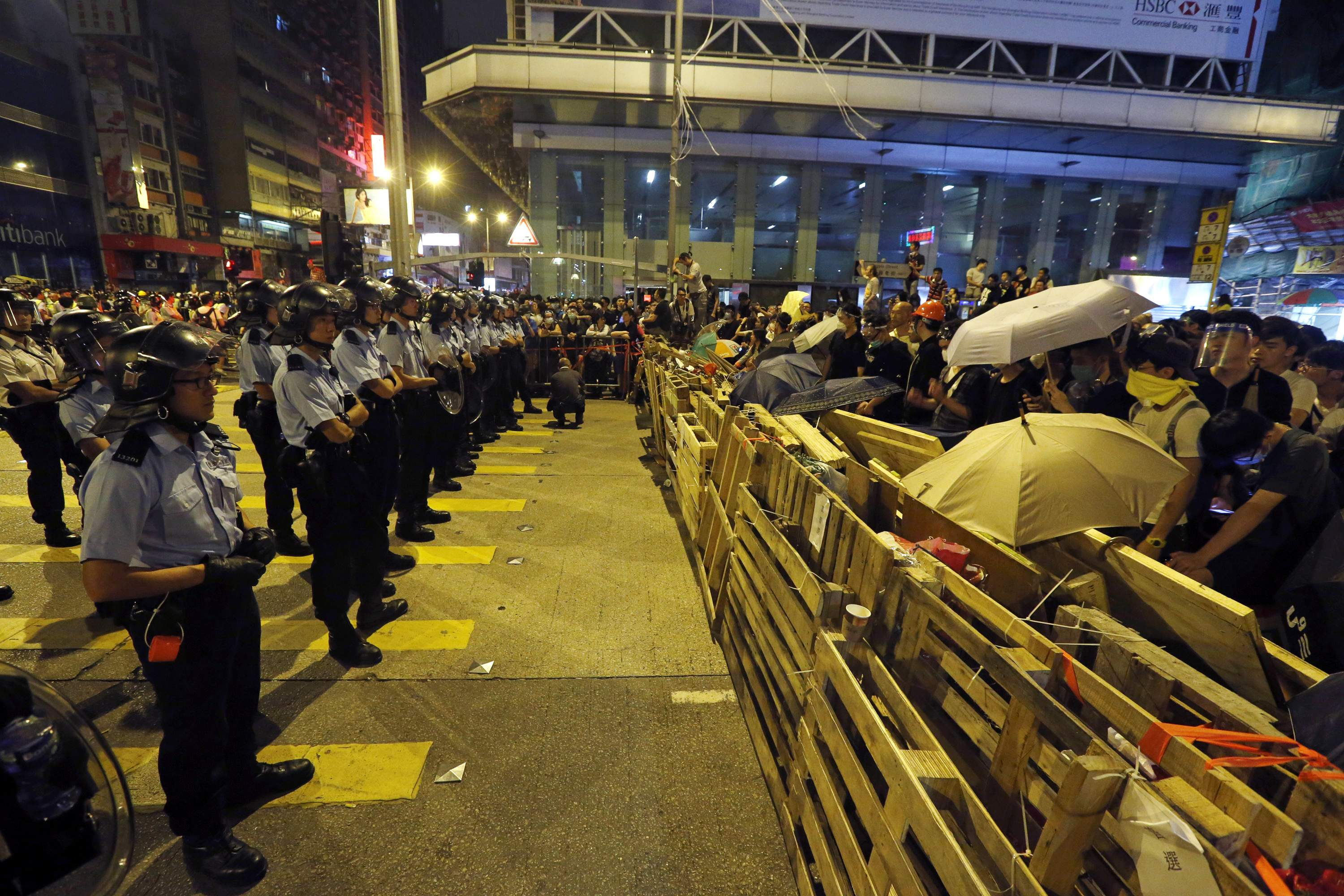 Clashes at Hong Kong protest site