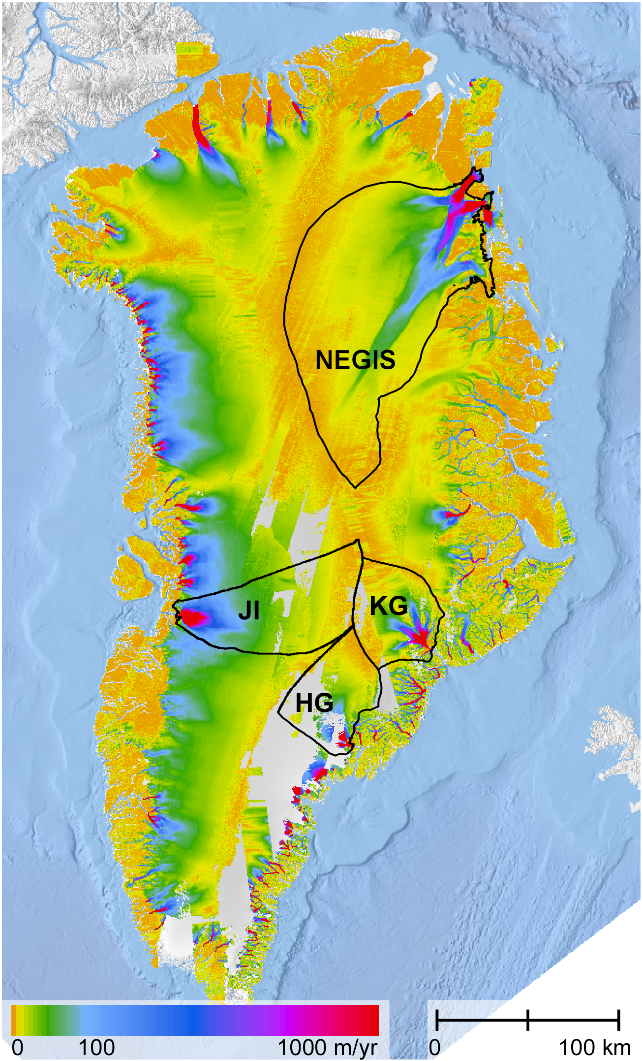 Major ice drainages in Greenland overlain on a map of measured ice surface velocities. The northeast Greenland ice stream (NEGIS), Jakobshavn Isbræ (JI), Helheim Glacier (HG) and Kangerdlugssuaq (KG) catchments are shown. Photo courtesy of The Ohio State University.