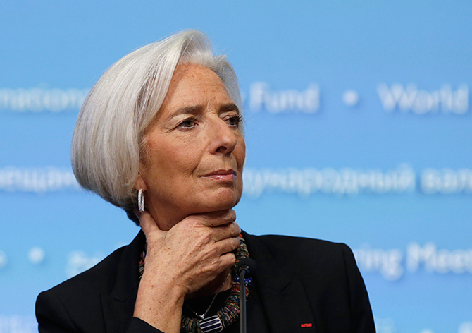 This Reuters photo taken on April 10, 2014 shows International Monetary Fund (IMF) Managing Director Christine Lagarde holding a news conference in Washington.