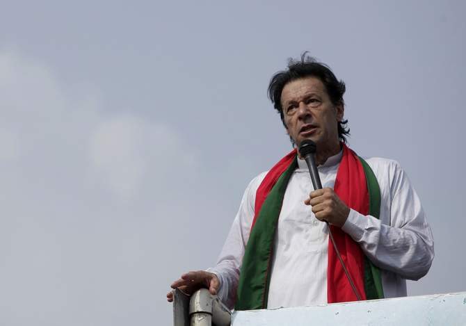 "Chairman of the Pakistan Tehreek-e-Insaf (PTI) political party Imran Khan addresses his supporters during what has been dubbed a ""freedom march"" in Islamabad August 21, 2014. Photo: Reuters"