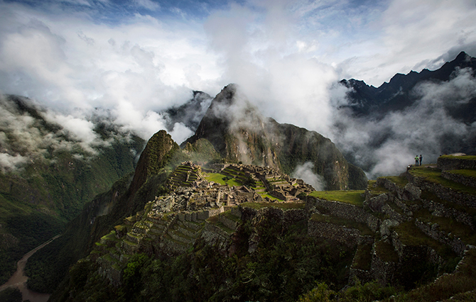 The Inca ruins of the Machu Picchu sanctuary on January 18, 2014 near Cusco, Peru. The 15th-century Inca site, MachuPicchu also known as 'The Lost City of the Incas' is situated high above the Urubamba River. Now a UNESCO World Heritage Site it was discovered in 1911 by the American historian Hiram Bingham. Photo: Getty Images